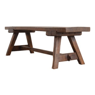 English Early 18th Century Thick Oak Bench For Sale