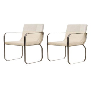 Modern Cream Hair on Leather Dining Chair- A Pair For Sale