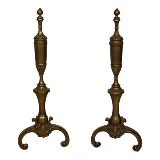 Pair Greek Design Solid Brass Fireplace Andirons For Sale