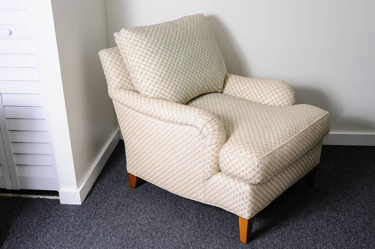Club Chair And Ottoman With Diamond Star Pattern Cream Colored, Woven Fabric