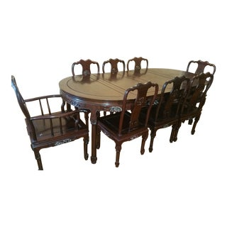Vintage Chinese Rosewood Carved Dining Set For Sale