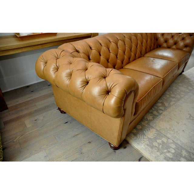 Ethan Allen 3 Seat Chesterfield Style Leather Tufted Sofa For Sale In New York - Image 6 of 10