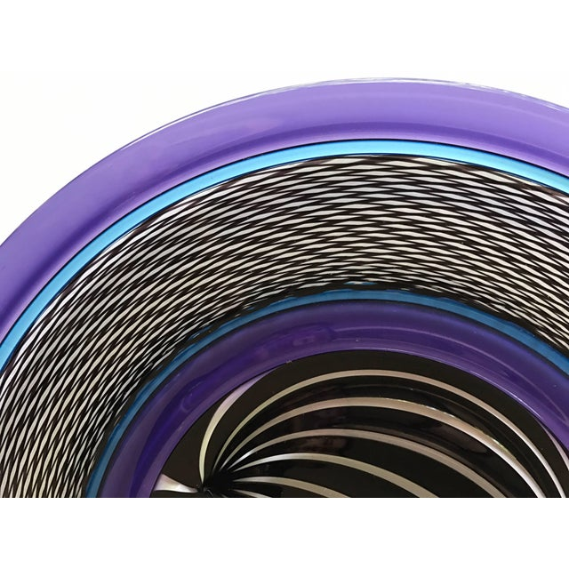 Large Purple Art Glass Plate Charger Signed by Peter Greenwood For Sale - Image 4 of 6