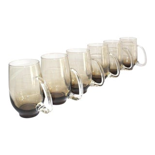 Set of Six Mid-Century Modern Tinted Glass Mugs by Libbey Glass Co. For Sale