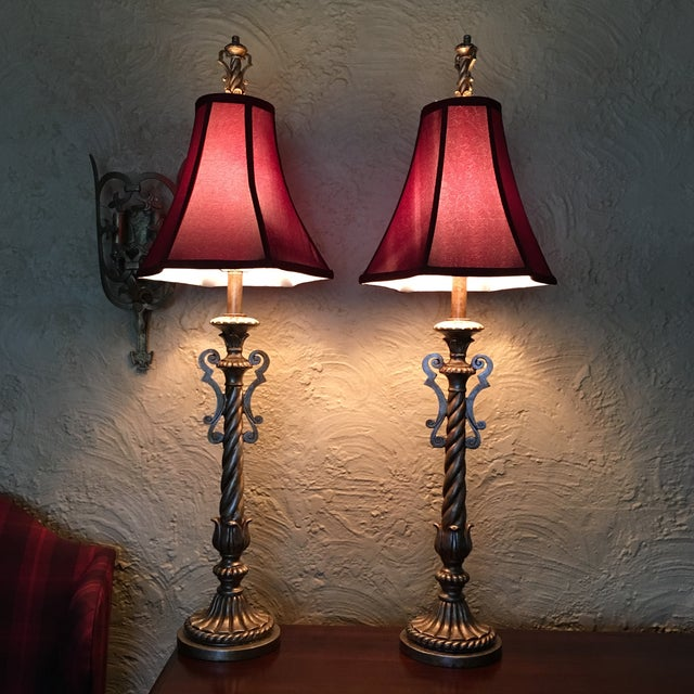 Tall Table Buffet Lamps Antiqued Finish- a Pair - Image 2 of 11