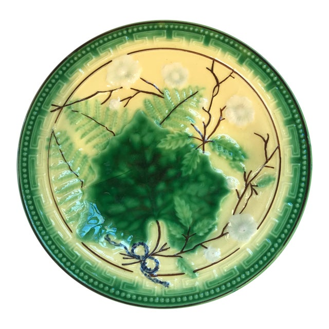 French Majolica Grape Leaf Plate For Sale