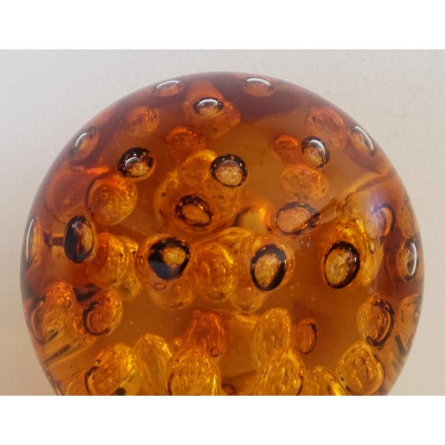 Amber Controlled Bubble Glass Orb - Image 4 of 5