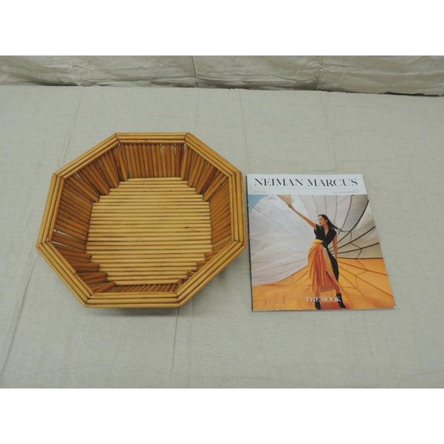 Hexagonal Vintage Bamboo Fruit Bowl or Serving Basket For Sale - Image 4 of 6
