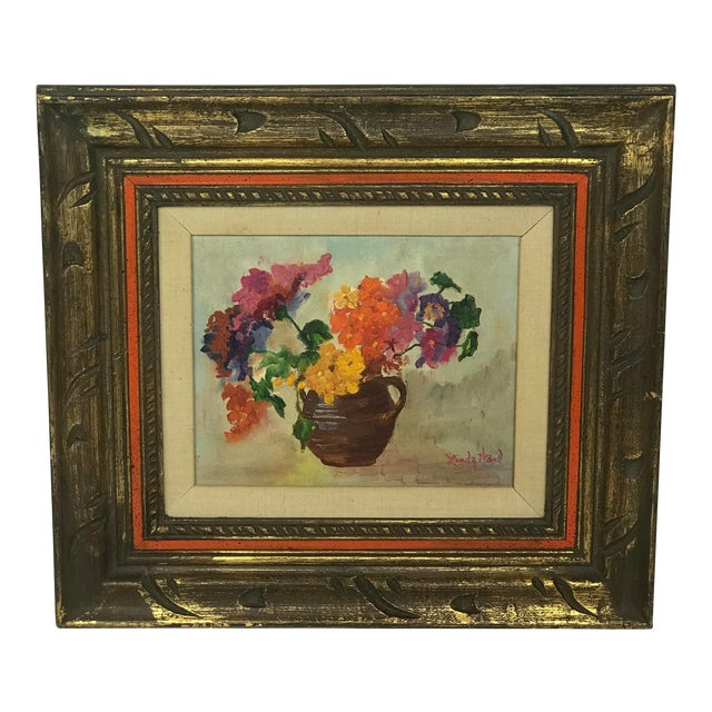 1970s Vintage Flower Still Life Oil on Canvas Painting For Sale
