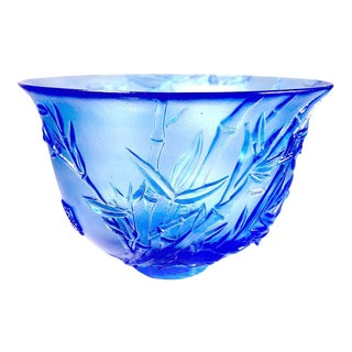 """Crystal Limited Edition Bamboo Bowl """"The Green Gentleman"""" in Royal Purple For Sale"""