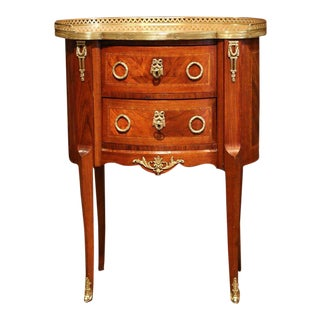 19th Century French Louis XV Walnut Commode Nightstand Chest With Marble Top
