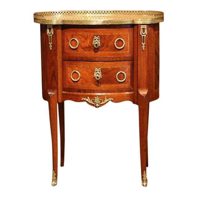 19th Century French Louis XV Walnut Commode Nightstand Chest With Marble Top For Sale