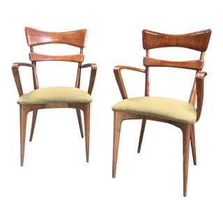 Italian Pair of Very Rare Ico Parisi Armchairs For Sale