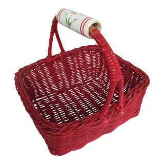 Vintage Red Basket With Porcelain Handle Painted With Holly For Sale