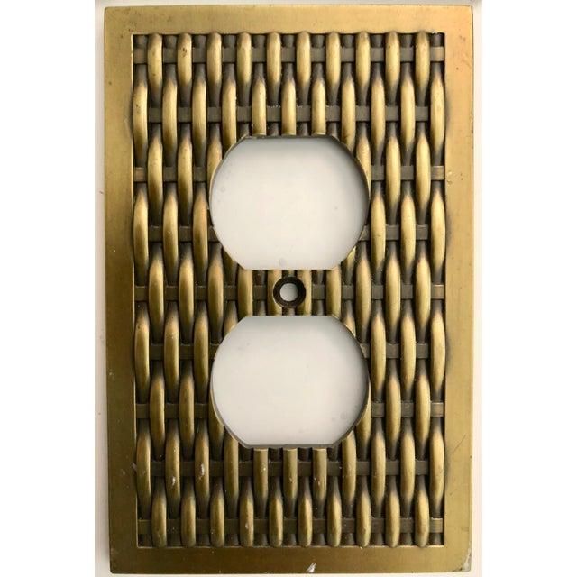 Traditional Vintage Brass Basketweave Hardware - Set of 3 For Sale - Image 3 of 7