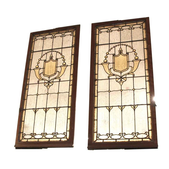 Vintage Mid Century Jeweled Stained Glass Windows- A Pair For Sale - Image 11 of 11