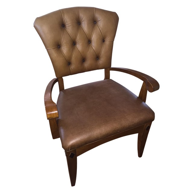 Brown Leather Parlor Chair - Image 1 of 5