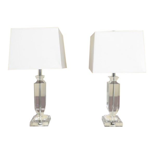 Vintage Mid Century Modern Crystal Table Lamps - A Pair For Sale