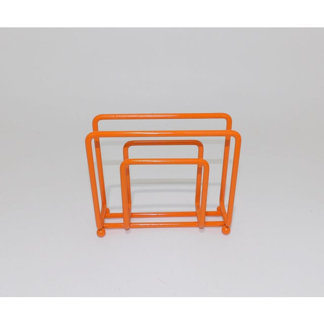 Late 20th Century Mid-Century Modern Orange Metal Napkin Holder For Sale - Image 5 of 6