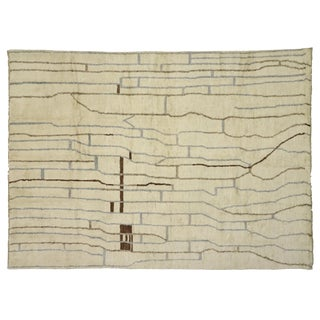 Contemporary Moroccan Area Rug With Organic Modern Style - 10'02 X 14'00 For Sale
