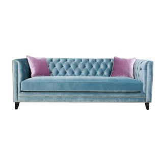 Pasargad Victoria Velvet Sofa Collection, Blue For Sale