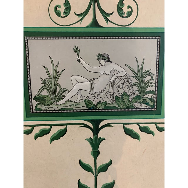 Wood Hand-Painted and Decoupaged Garden Screens With Urn Motif - A Pair For Sale - Image 7 of 13