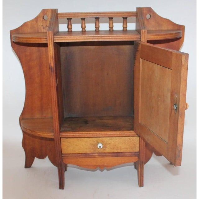 Wood 19th Century Pine Hanging Medicine Cabinet With One Drawer For Sale - Image 7 of 10