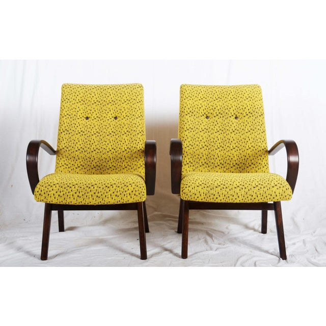 Beech Mid-Century Czech Upholstered Chairs, 1960s - A Pair For Sale - Image 7 of 11