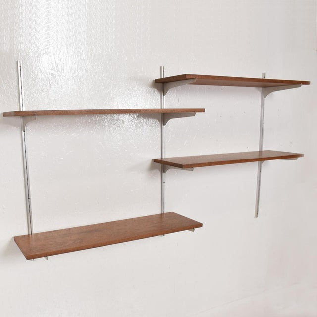 Eames Mid-Century Modern Teak & Aluminum Wall Unit Shelving For Sale - Image 4 of 10