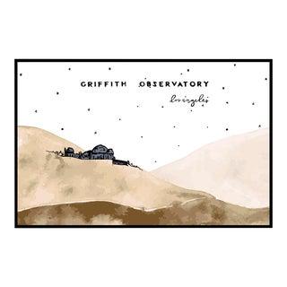 """Griffith Observatory Watercolor"" Original Framed Illustration"