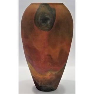 Italian 1960s Studio Art Pottery Raku Vase-Signed-Mid Century Modern MCM Italy Brutalist Organic Tropical Coastal Palm Beach Tree Boho Chic Preview