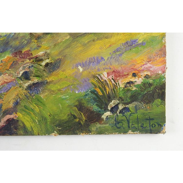 Bright landscape with stream oil on canvas board. Signed Valeton lower right corner. Unframed, edge wear.