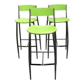 Italian Altek Baba Green + Chrome Barstools - Set of Three For Sale