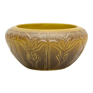 C. 1915 North Dakota Art Nouveau Art Pottery Pasque Flower Bowl For Sale