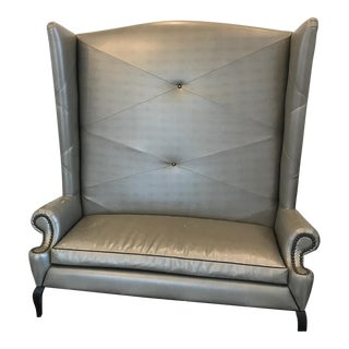 High Back Gray Leatherette Loveseat