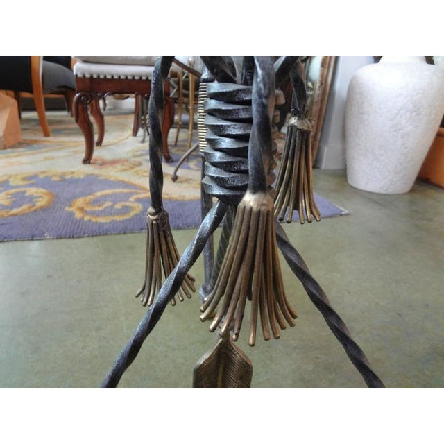 Diego Giacometti 1970's Italian Giacometti Inspired Iron and Brass Table For Sale - Image 4 of 9