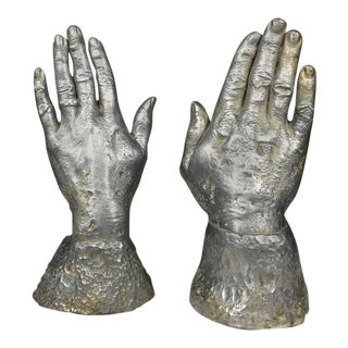 Solid Lead Sculpture Bookends of Two Hands, USA, 1970s For Sale