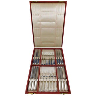 Milano by Buccellati Sterling Silver Flatware Set Fruit Knife and Fork 24 Pieces For Sale