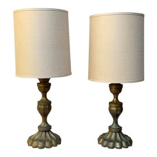 Brass Hand-Made Lamps, Mexico - a Pair For Sale