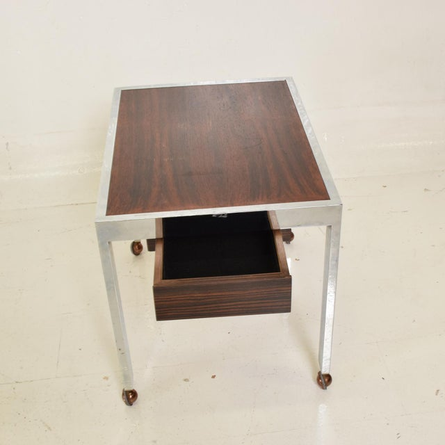 Scandinavian Danish Modern Side Table in Rosewood and Chrome For Sale - Image 4 of 9