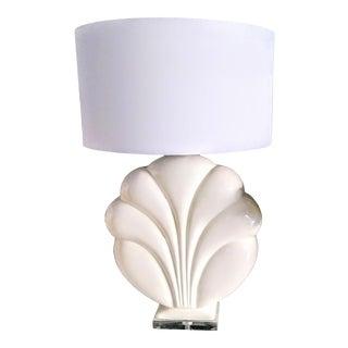 Vintage Royal Haeger White Ceramic Large Flower Shape Lucite Table Lamps For Sale