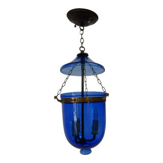Vintage Cobalt Blue Bell Jar Pendant For Sale
