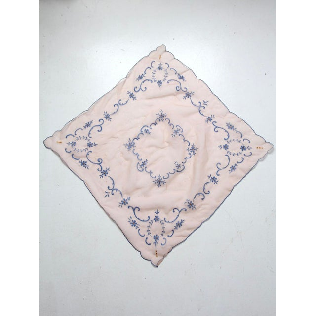 Mid 20th Century Vintage Pink Table Cloth With Embroidery For Sale - Image 4 of 7