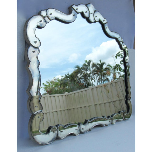 Glass Large 1940's-50's Hollywood Regency Era, Venetian-Style Antique Acid Finished Wall Mirror For Sale - Image 7 of 13
