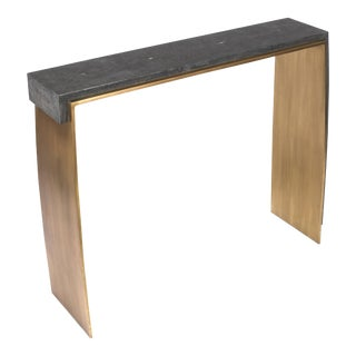 Laurens Console Table in Black Shagreen & Bronze-Patina Brass by R&y Augousti For Sale