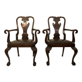Pair Antique 19th Century English Mahogany Well-Carved Armchairs For Sale