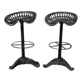 Pair Vintage Black Industrial Wrought Iron Swivel Tractor Seat Bar Stools Spanish Style For Sale