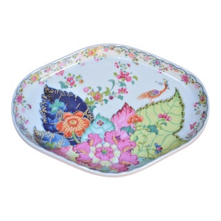 Vintage Mottahedeh Tobacco Leaf Porcelain Oval Tray For Sale