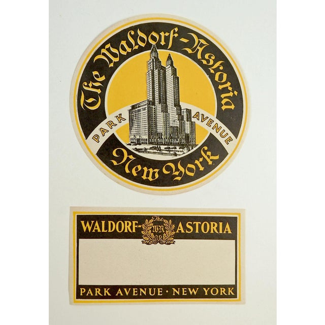 """Pair of vintage luggage labels or tags from the Waldorf Astoria Hotel, New York, circa 1930's. Round label is 4.75"""" dia...."""