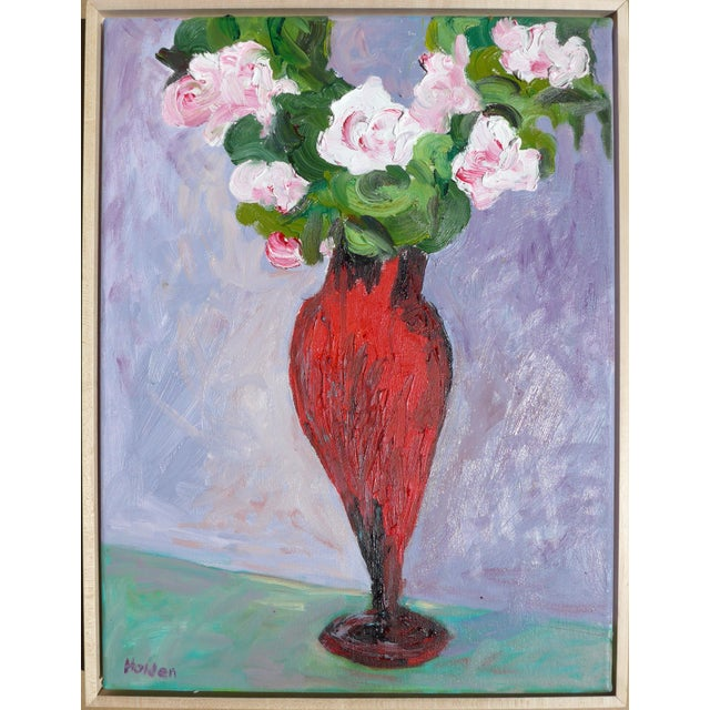 """Canvas Martha Holden Contemporary """"French Roses in Lilac"""" Oil Painting For Sale - Image 7 of 7"""